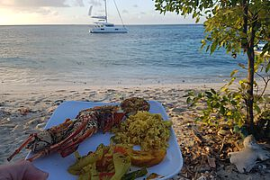 Lobster-Dinner in den Tobago Cays