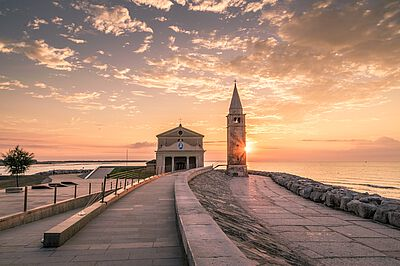 Sunset over a Church in Croatia