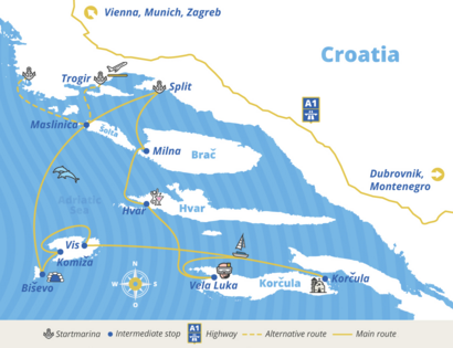Sailing route in dalmatia (croatia)